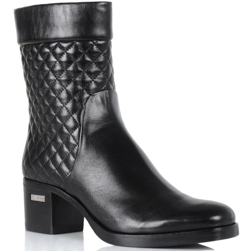 Женские ботинки Loriblu на устойчивом каблуке из сочетания стеганой и гладкой кожи