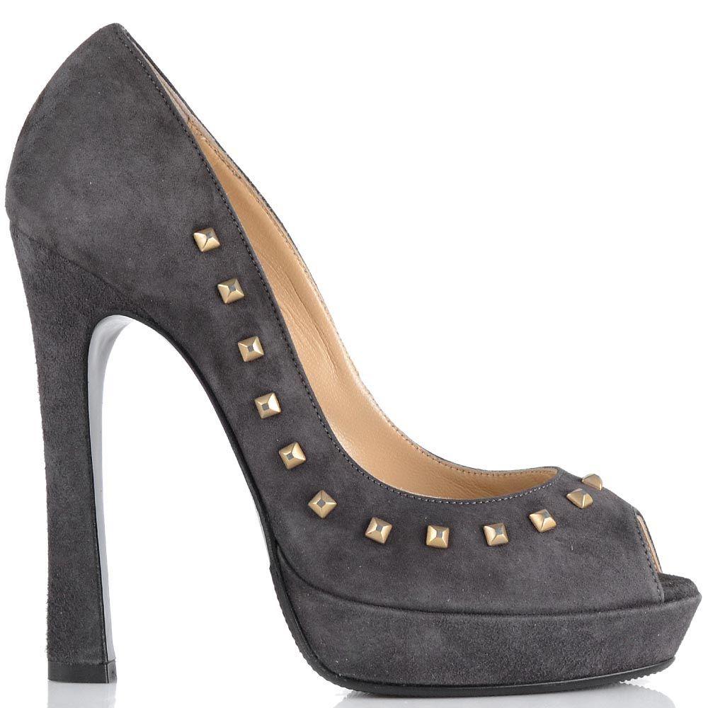 Замшевые туфли Loriblu серого цвета с заклепками