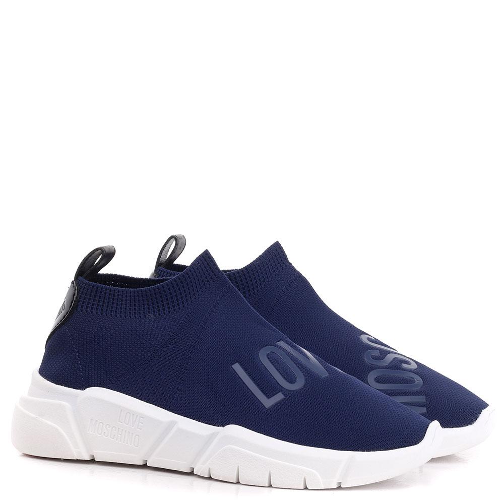 Высокие кроссовки Love Moschino синего цвета
