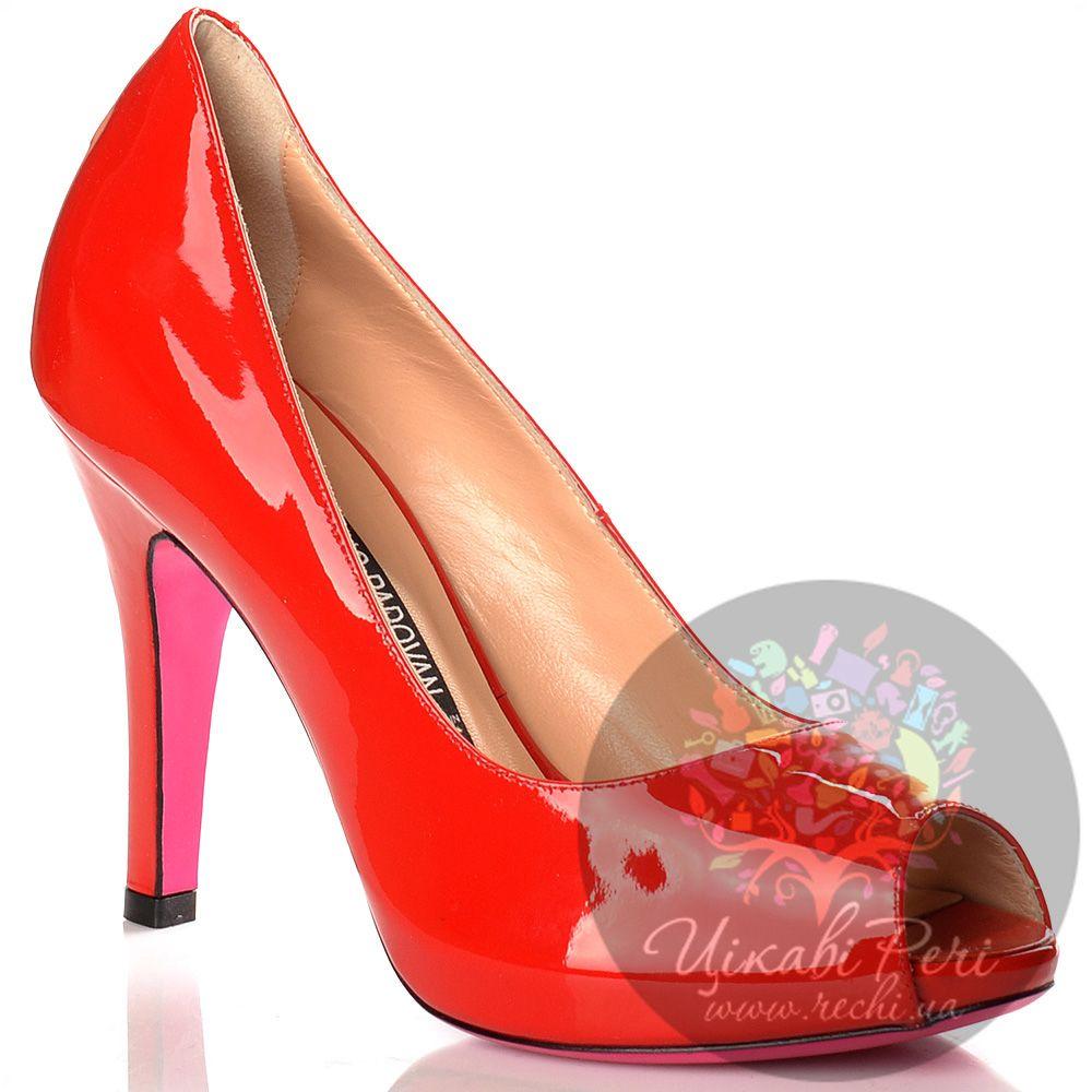 Туфли Luciano Padovan красные лаковые кожаные с открытым носком