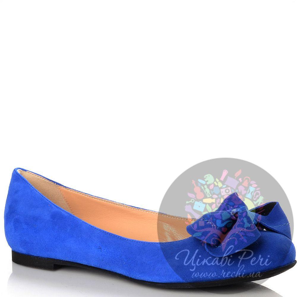 Балетки Luciano Padovan ярко-синие замшевые