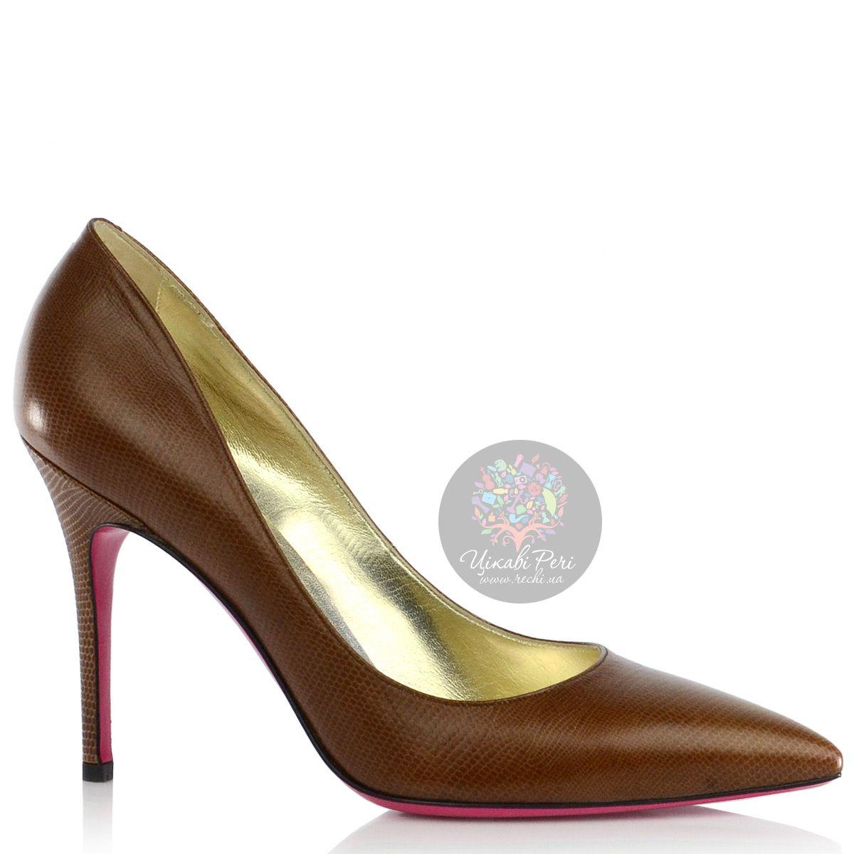 Туфли-лодочки Luciano Padovan из светло-коричневой кожи с модным змеиным тиснением