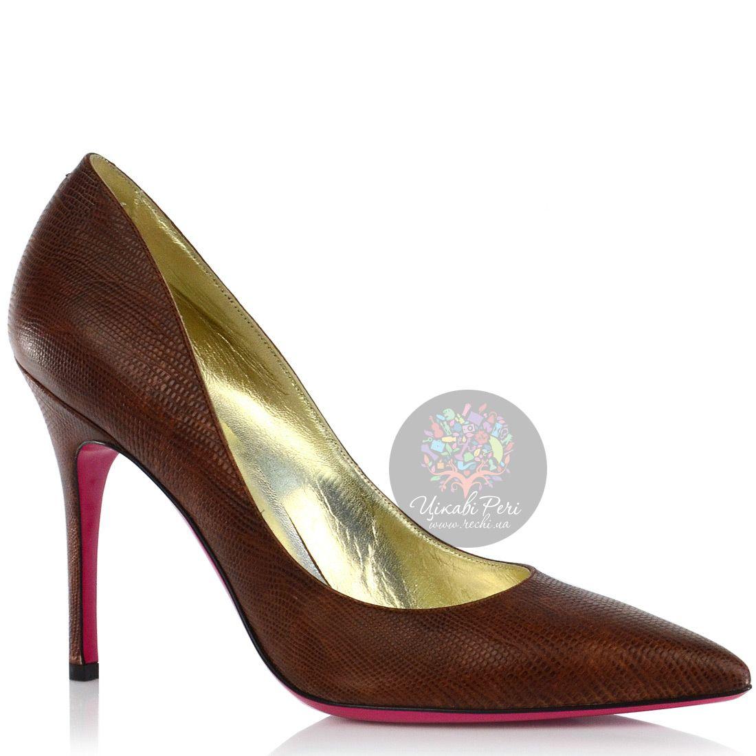 Туфли-лодочки Luciano Padovan из коричневой кожи с модным змеиным тиснением