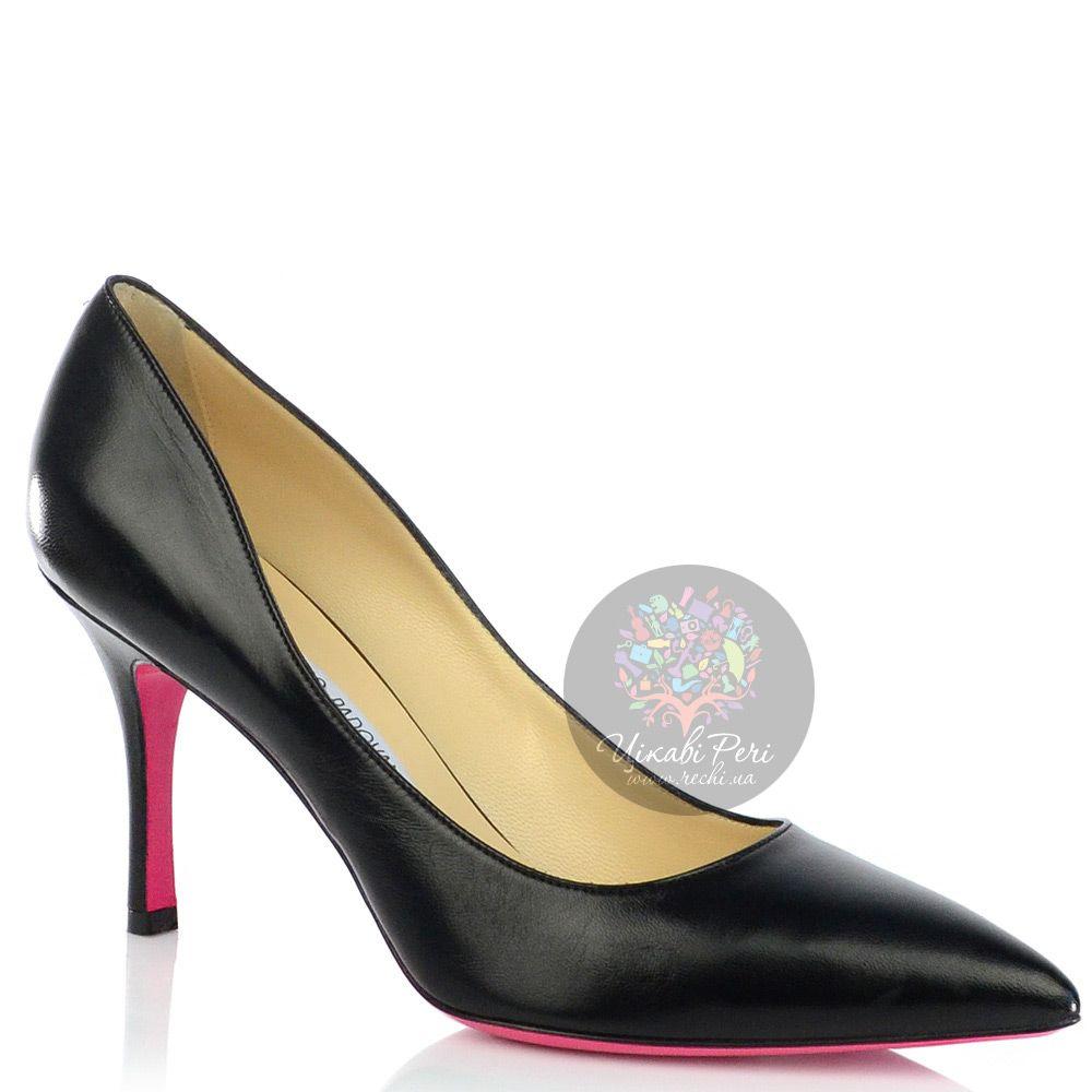 Туфли-лодочки Luciano Padovan из черной кожи на среднем каблуке с яркой подошвой