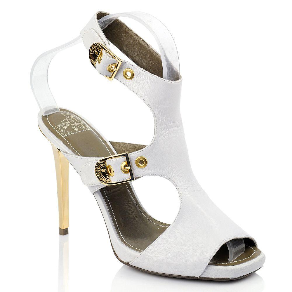 Босоножки белые кожаные Versace Collection