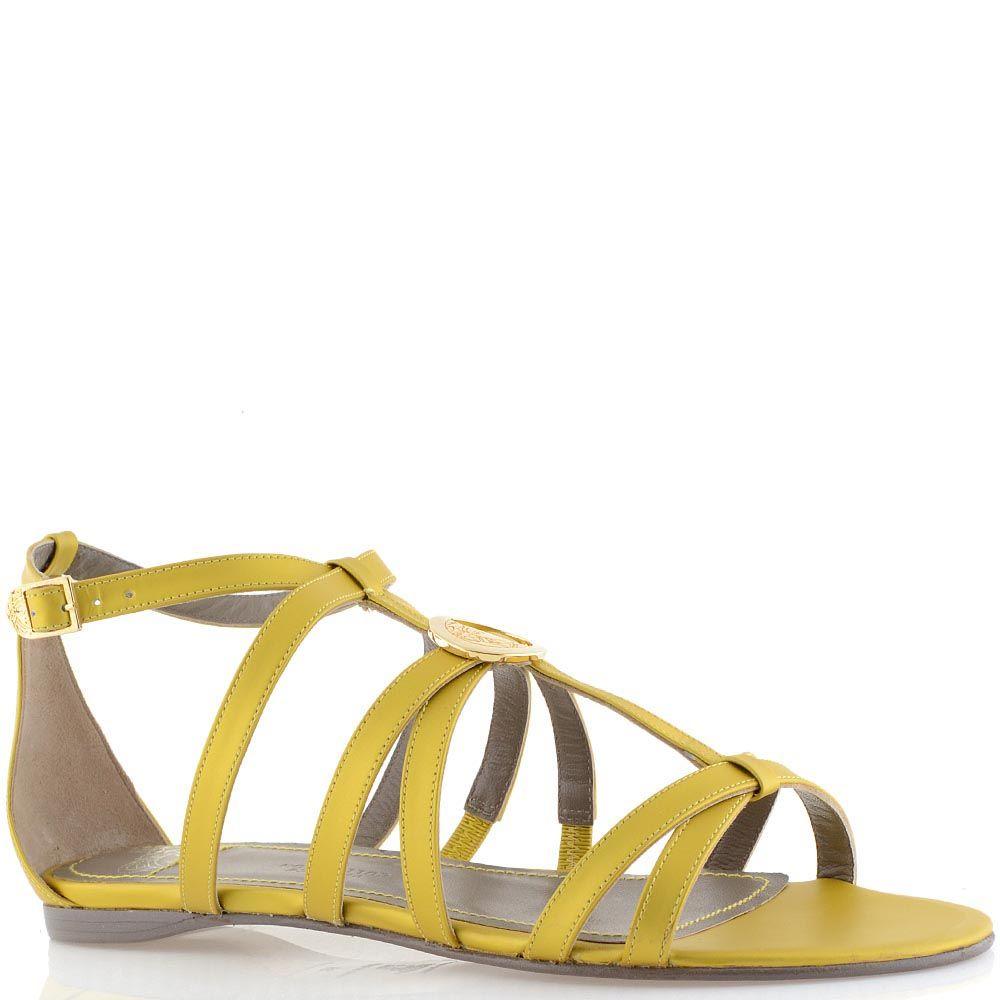 Сандалии кожаные желтые Versace Collection