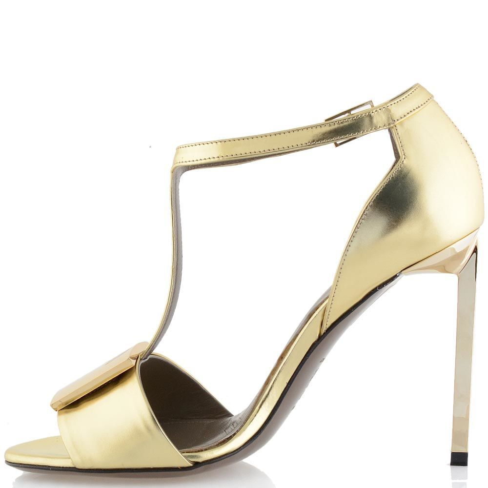 Босоножки кожаные Versace Collection золотые с Т-ремешком
