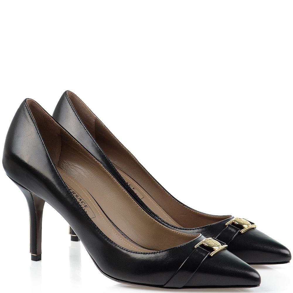 Туфли лодочки Versace Collection черные с металлическим декором