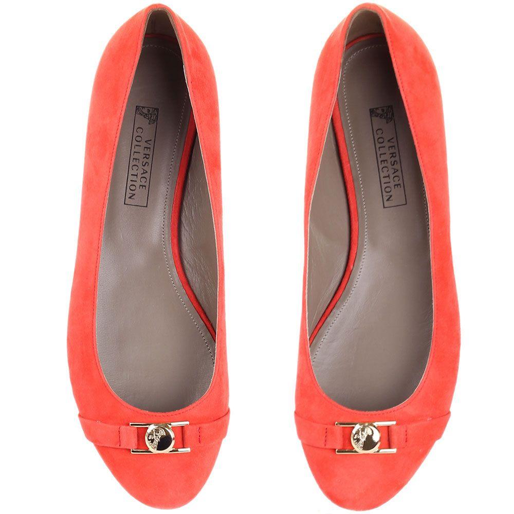 Балетки Versace Collection замшевые кораллового цвета