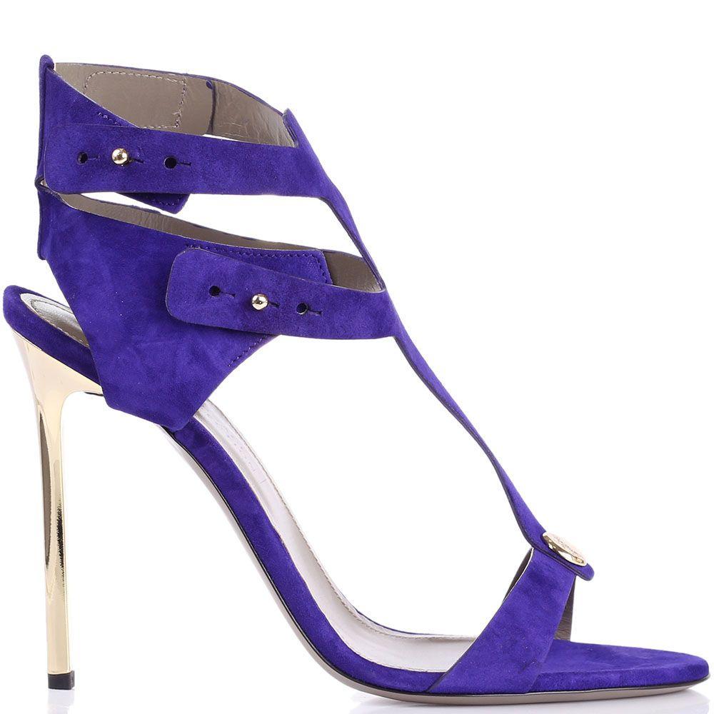 Босоножки Versace Collection замшевые фиолетового цвета с золотистым каблуком-шпилькой