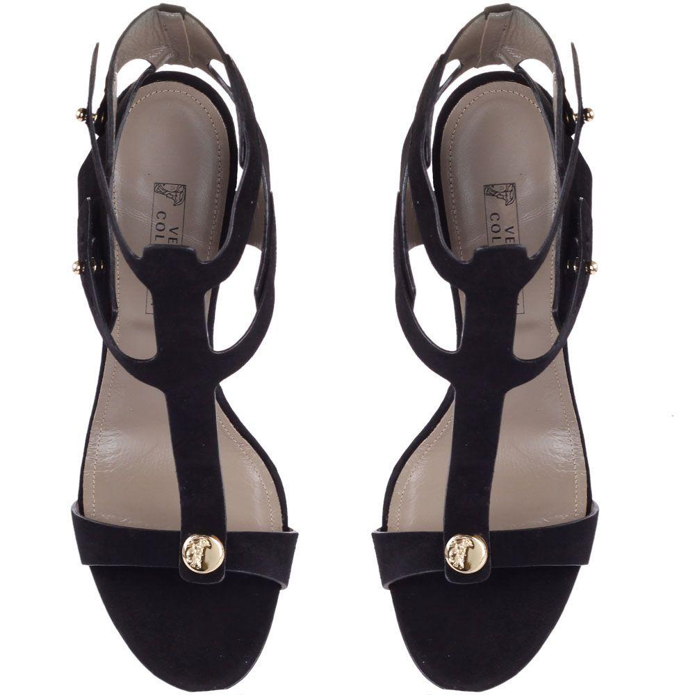 Босоножки Versace Collection замшевые черного цвета с золотистым каблуком-шпилькой