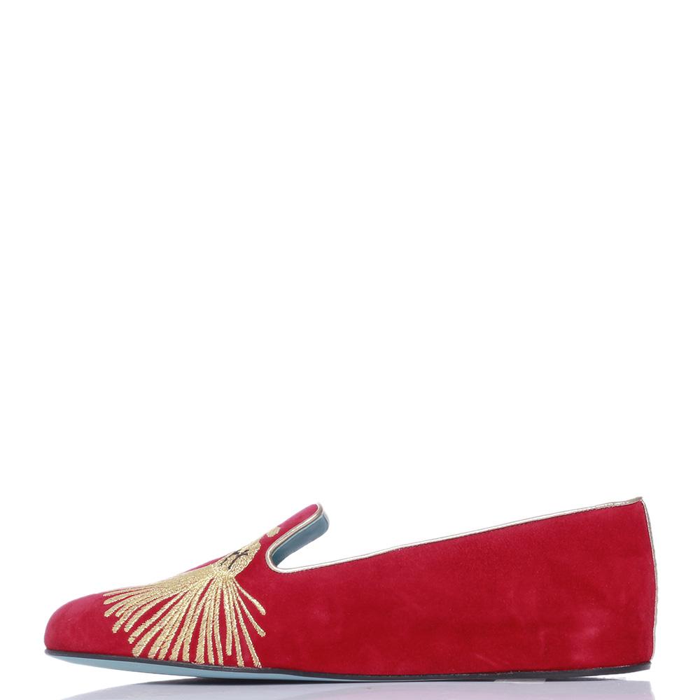 Красные лоферы Thierry Rabotin с золотистой вышивкой