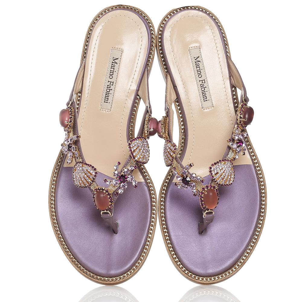 Фиолетовые сланцы Marino Fabiani со стразами и камнями