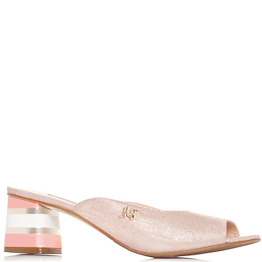 Розовые мюли Marino Fabiani с золотистым блеском