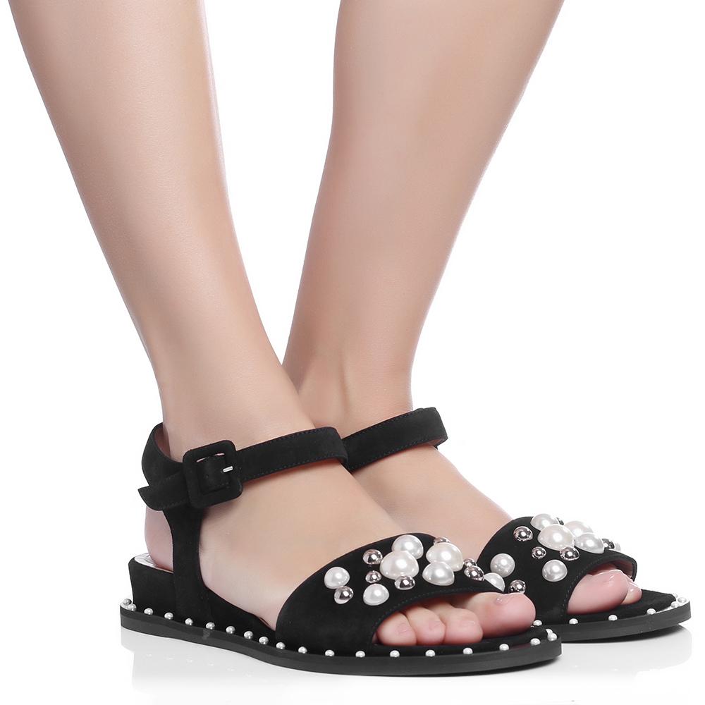 Замшевые сандалии Marino Fabiani с декором-бусинами