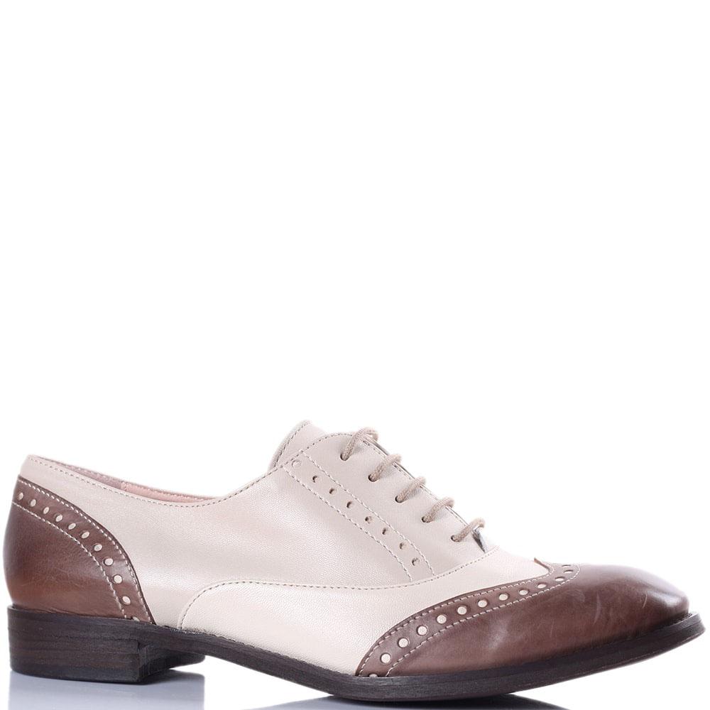 Кожаные броги Tine's бежевые с коричневым носочком