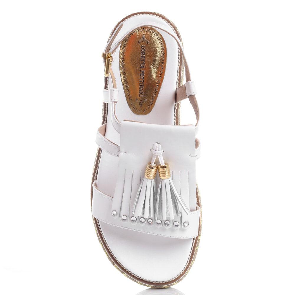 Сандалии на платформе Loretta Pettinari из белой кожи с кисточками и бахромой