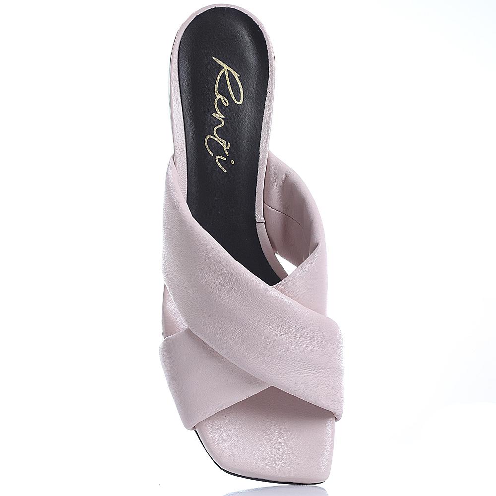 Мюли Gianni Renzi Renzi розового цвета с волнистым каблуком