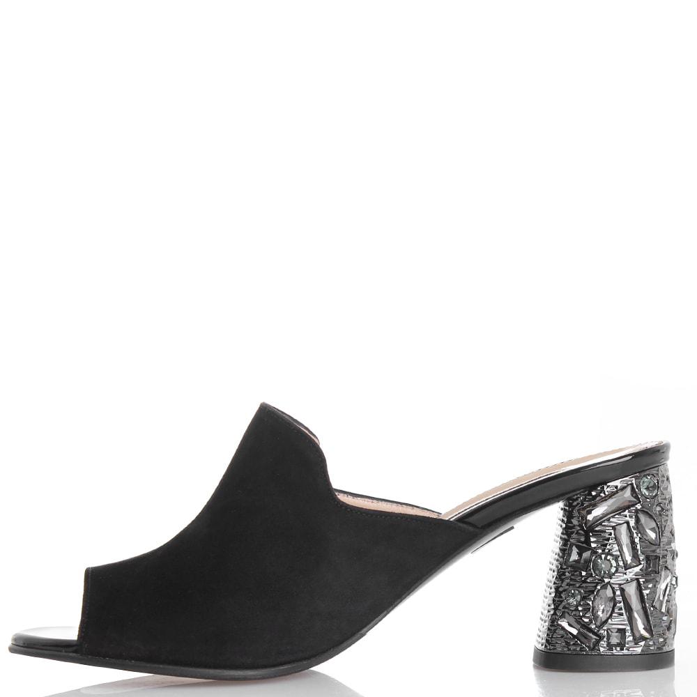 Черные мюли Marino Fabiani с декором на каблуке