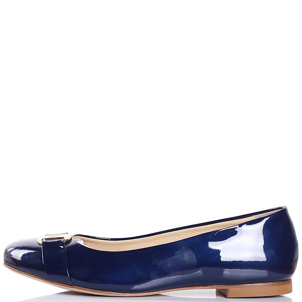 Кожаные балетки Griff Italia лаковые синего цвета