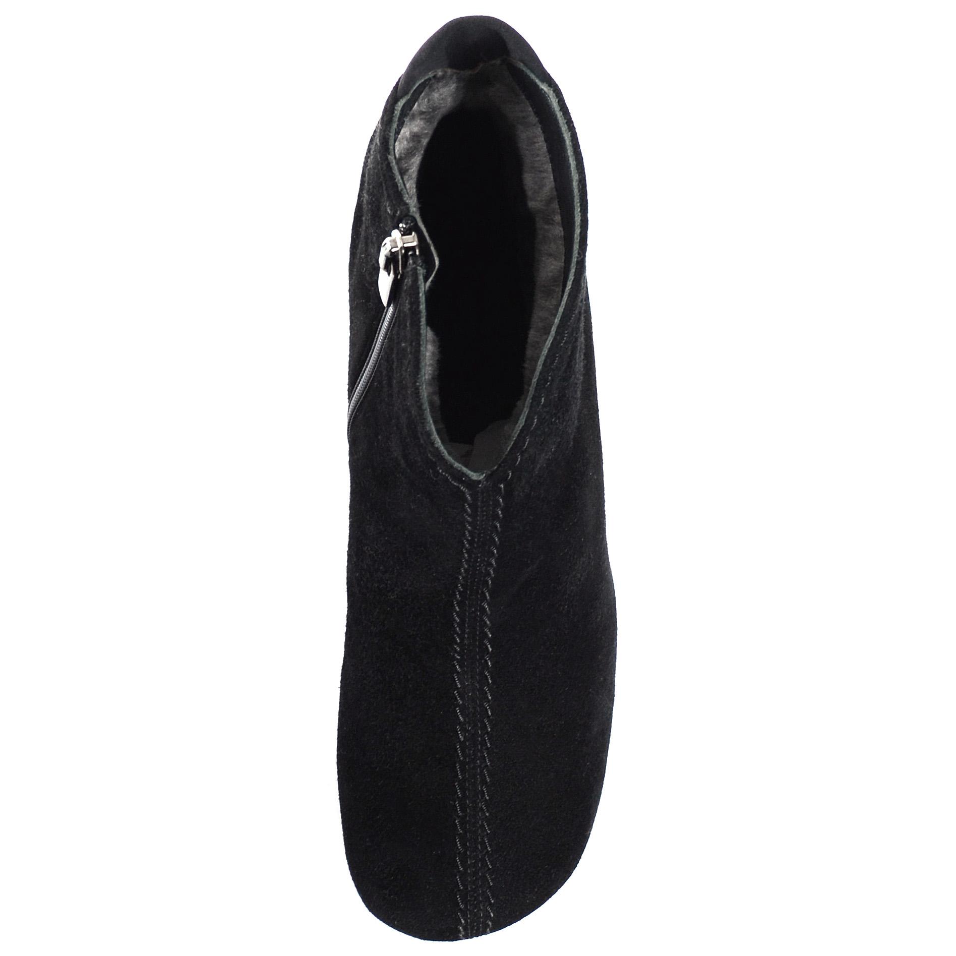 Черные замшевые ботинки на скрытой танкетке Thierry Rabotin