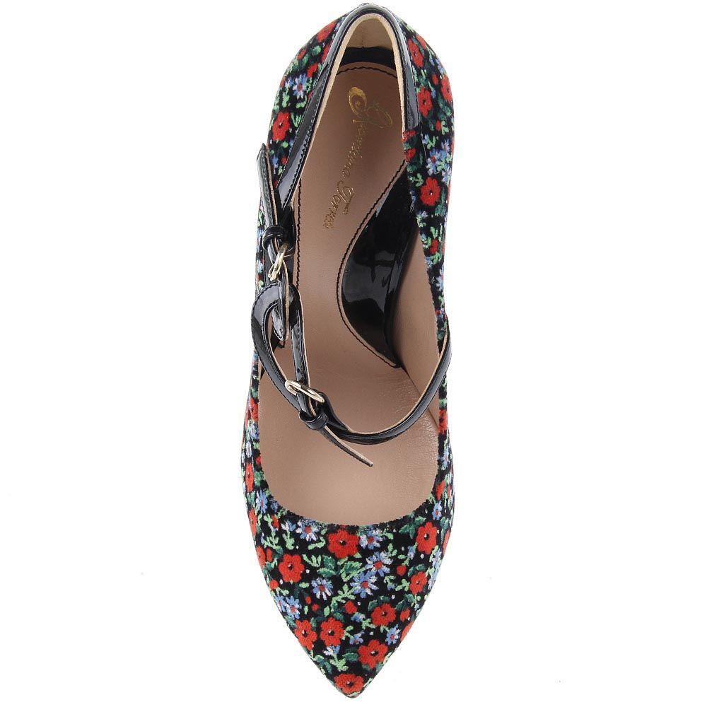 Туфли Giordano Torresi Lugano Bis из сочетания разноцветного текстиля и черной лаковой кожи