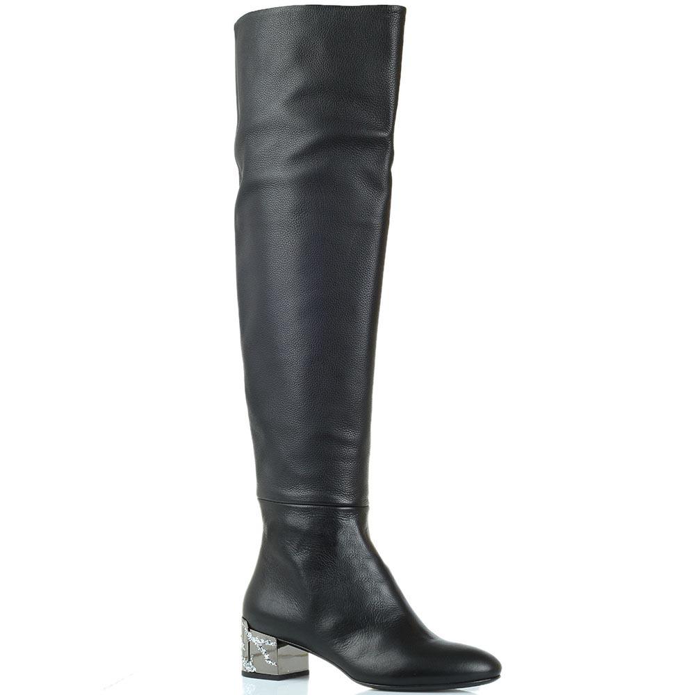 Кожаные сапоги-ботфорты на низком каблуке Ginmarco Lorenzi черного цвета