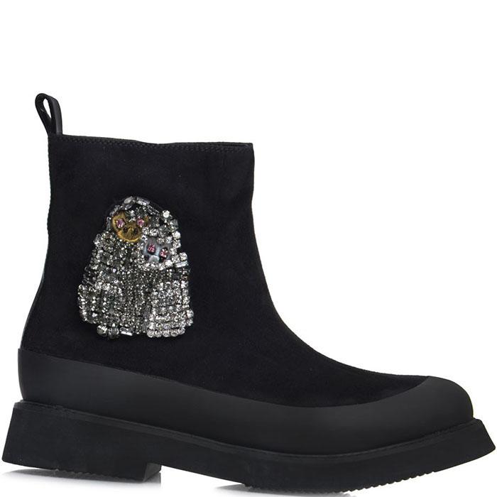 Высокие ботинки Prego из натуральной замши черного цвета с блестящим декором
