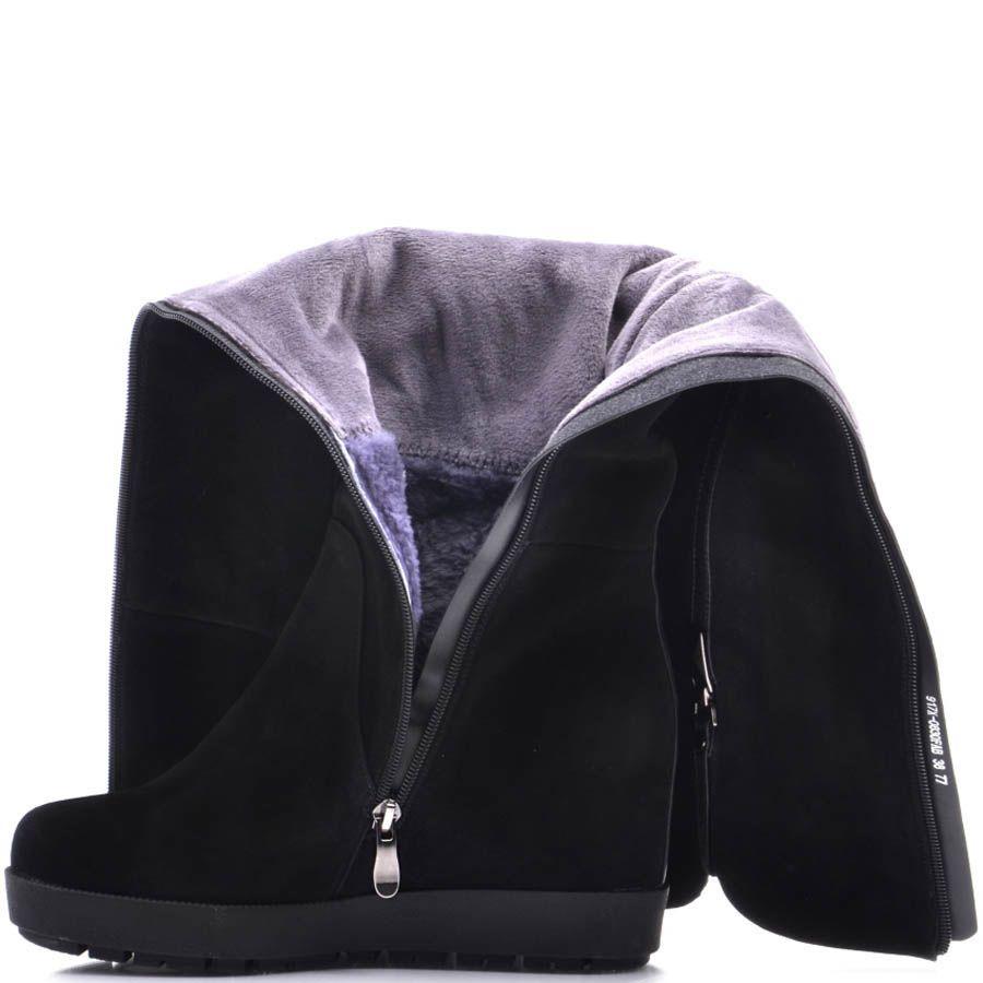 Сапоги Prego зимние из замши на меху черные со скрытой танкеткой и кожаной вставкой сзади