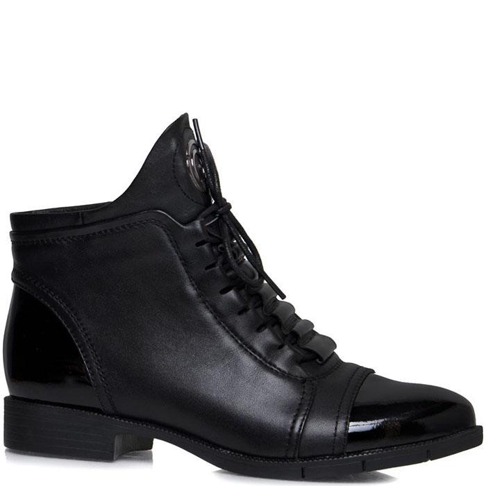 Кожаные ботинки Prego черного цвета с лаковыми носочком и пяточкой