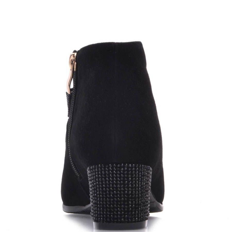 Ботильоны Prego черного цвета замшевые с бантиком и кристалликами на каблуке