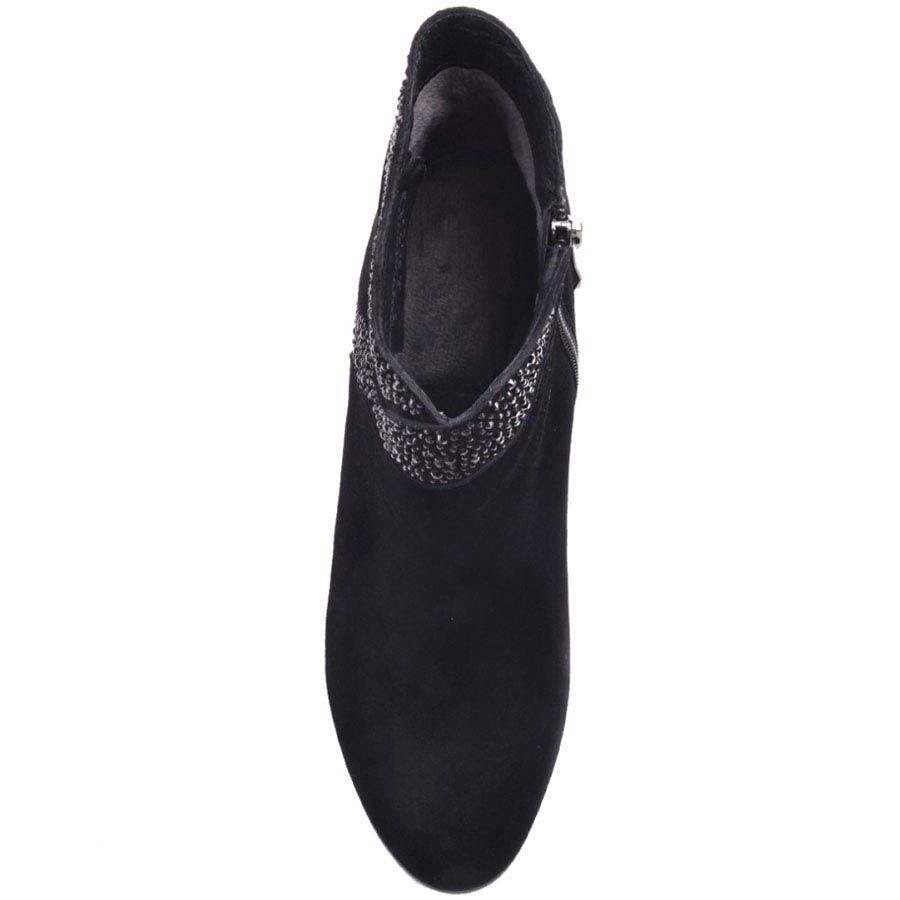Ботильоны Prego замшевые черного цвета на среднем каблуке с блестящим декором