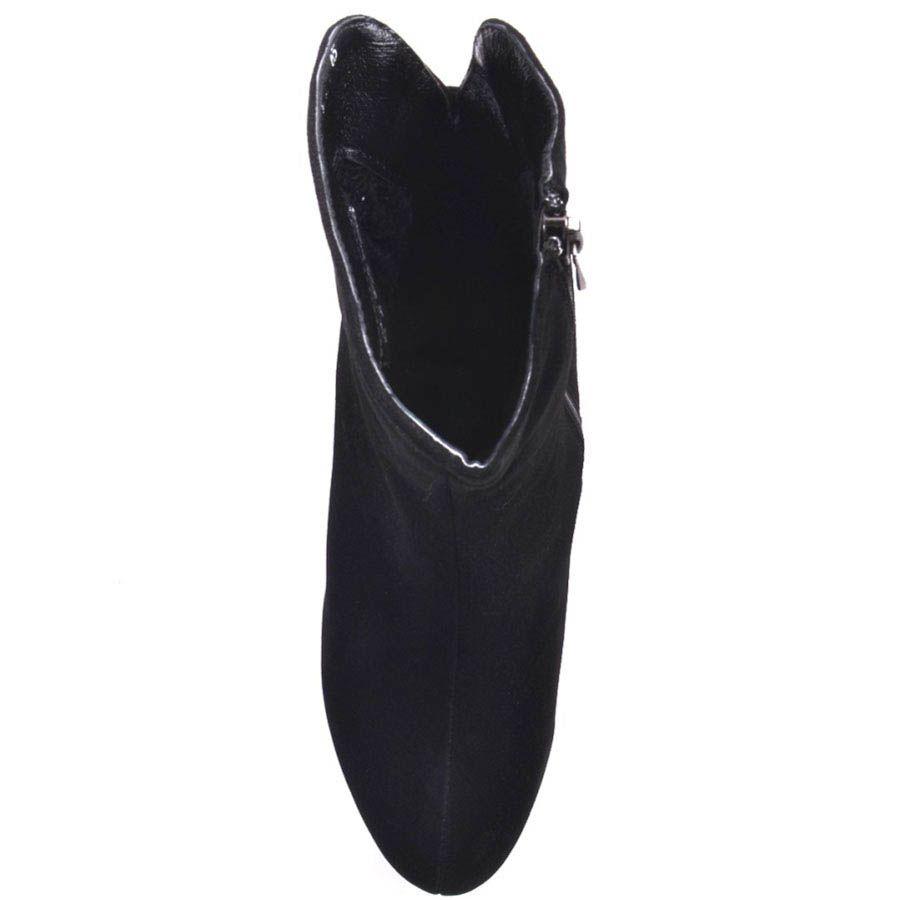 Ботильоны Prego черного цвета замшевые с перемычкой украшеной кристалликами и золотистой вставкой на каблуке