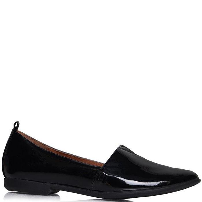 Туфли Prego из лаковой кожи черного цвета на низком ходу