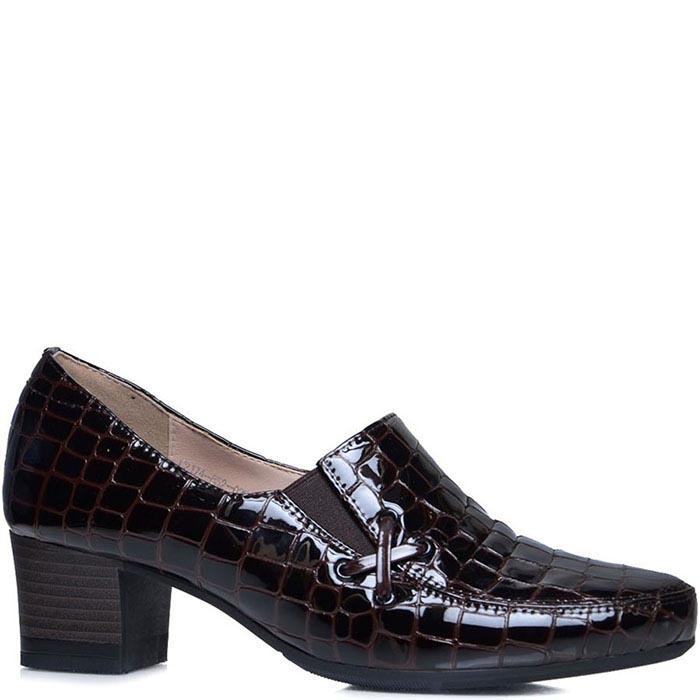 Туфли Prego коричневого цвета с фактурой кроко