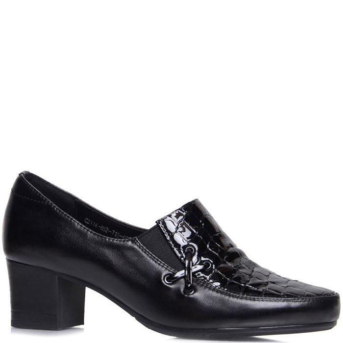 Туфли Prego из натуральной кожи черного цвета со вставкой кроко