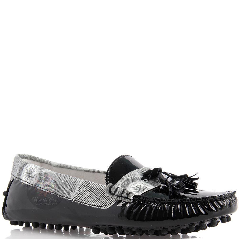 Мокасины Gattinoni из кожи черного цвета с черно-белой отделкой и декором-кисточками