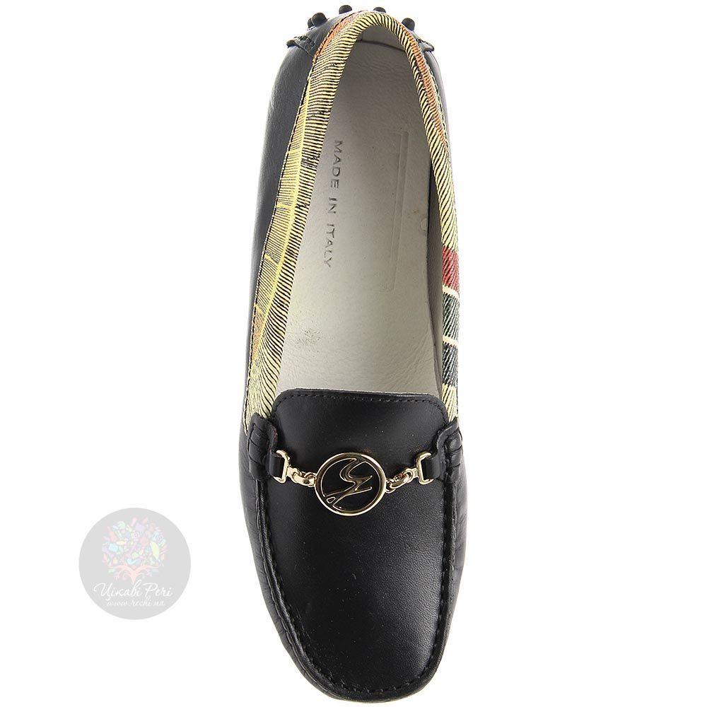 Кожаные мокасины Gattinoni черного цвета с золотистым брендовым декором