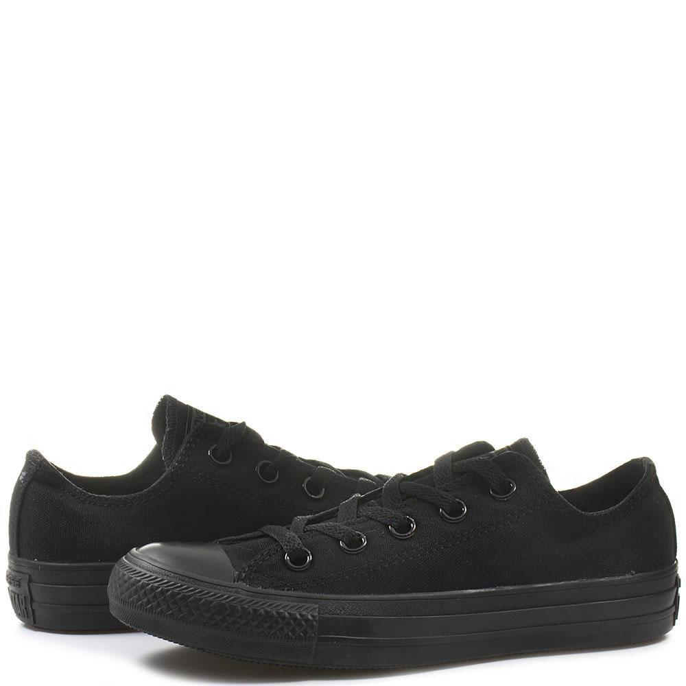 Низкие черные кеды Converse Chuck Tailor на черной подошве