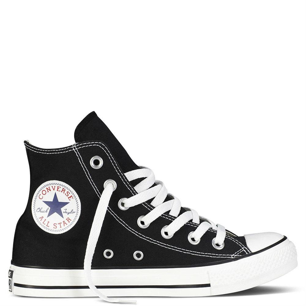 Черные высокие кеды Converse Chuck Tailor с белой подошвой и шнуровкой