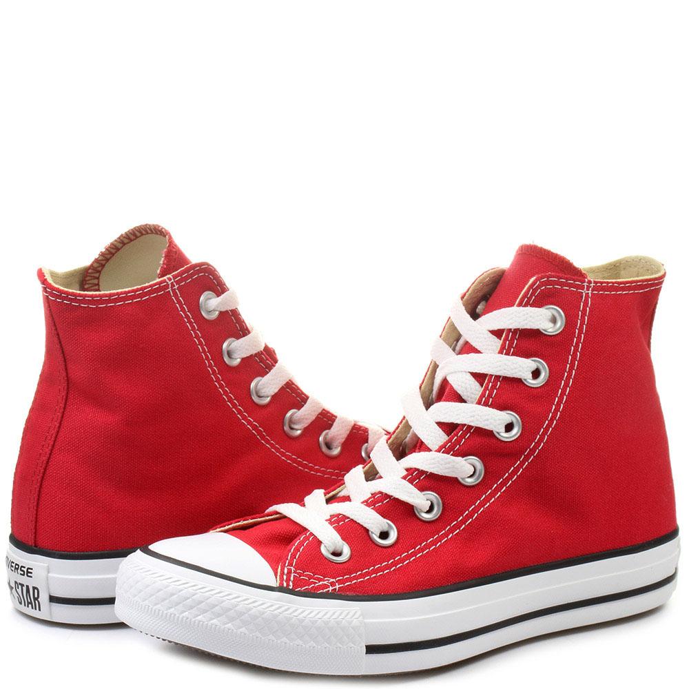 Высокие красные кеды Converse Chuck Taylor с черно-красной подошвой