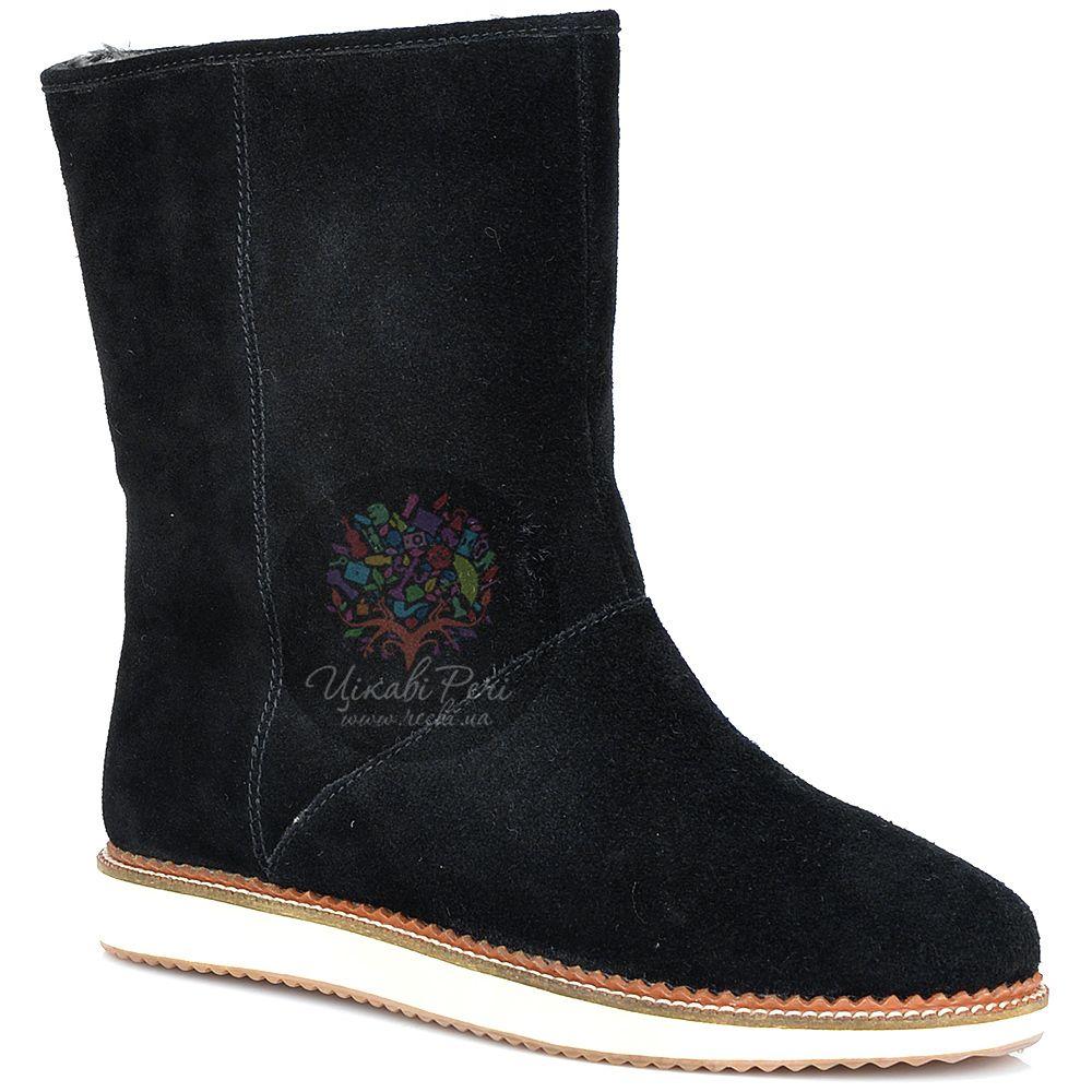 Ботинки Laura Mannini черные замшевые с мехом на плоской подошве