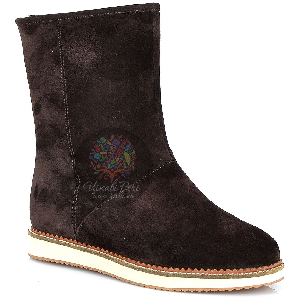 Ботинки Laura Mannini коричневые замшевые с мехом на плоской подошве