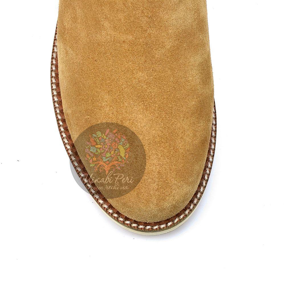 Ботинки Laura Mannini бежево-желтые замшевые с мехом на плоской подошве