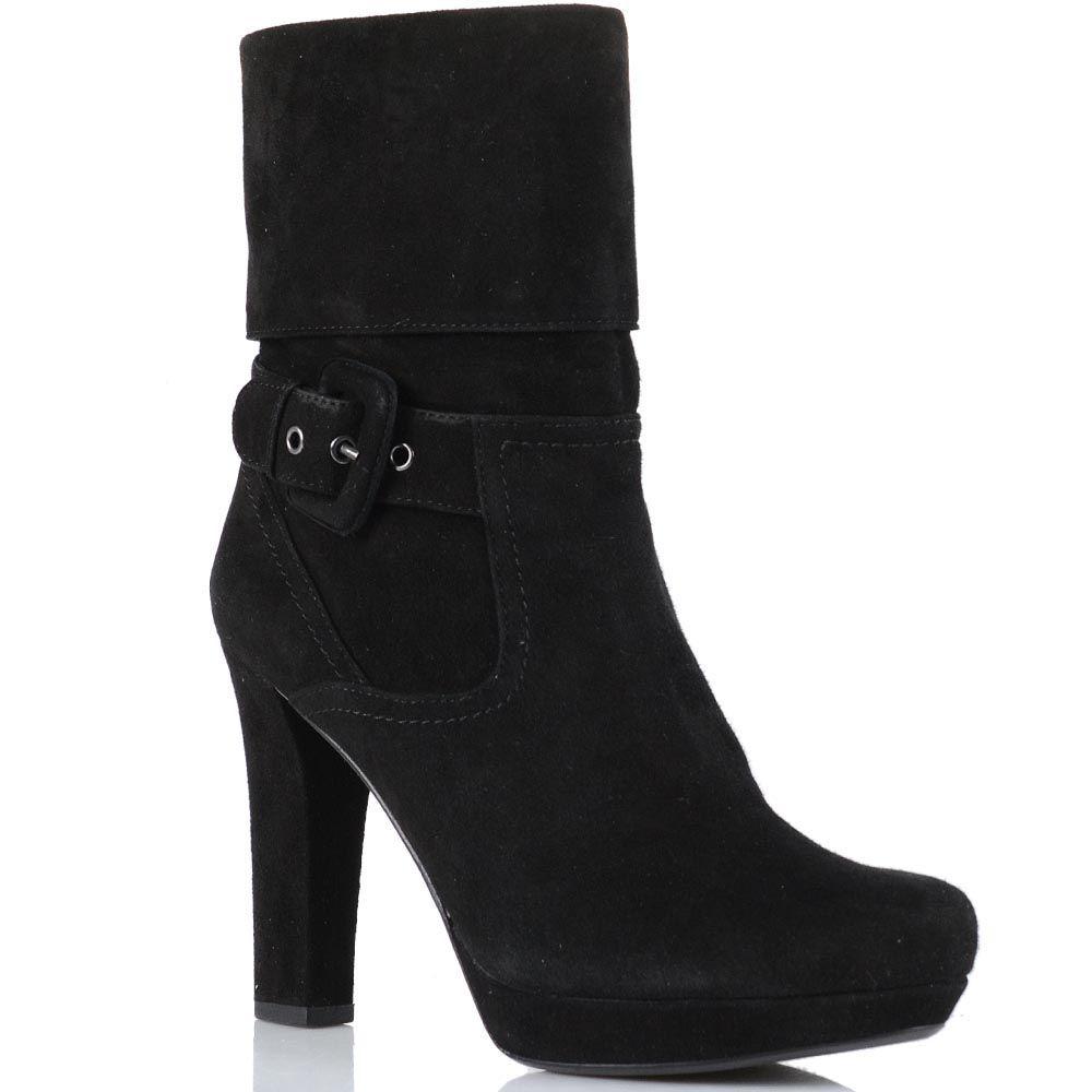 Высокие ботинки Laura Mannini из натуральной замши черного цвета