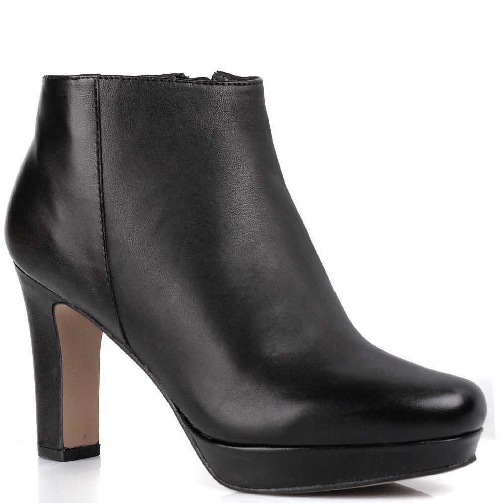 Кожаные черные ботильоны Cafe Noir Linea Glamour удобные на устойчивом каблуке