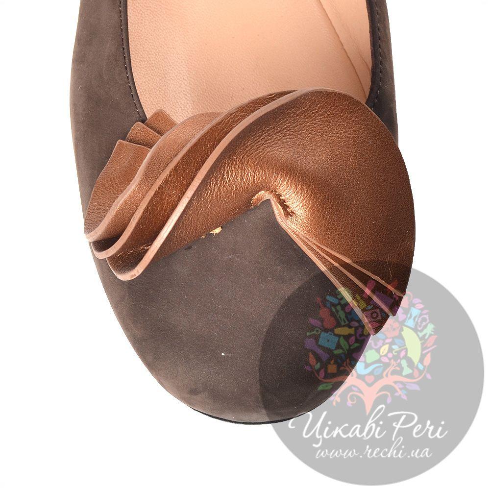 Балетки Miu Miu из коричневого нубука