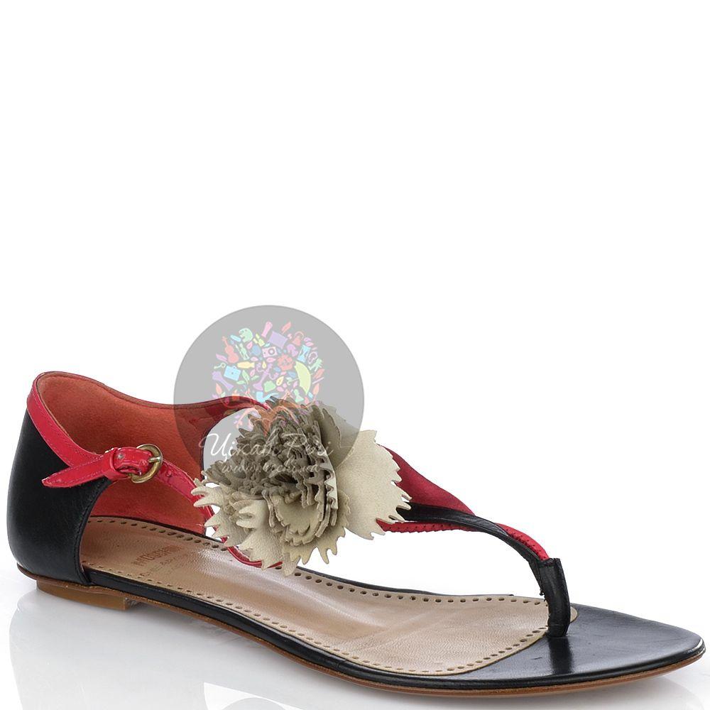 Сандалии Moschino с закрытой пяткой черно-красные с кремовой гвоздикой