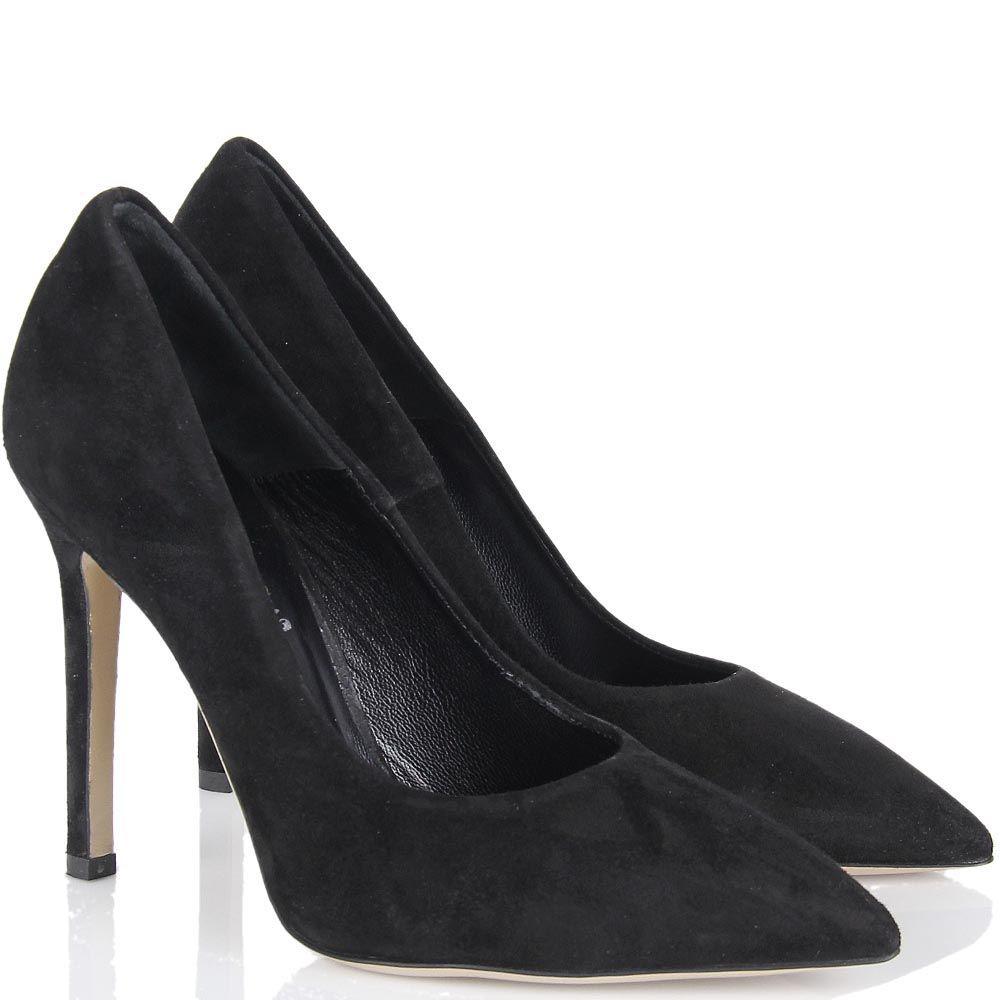 Туфли lEstrosa замшевые черного цвета с каблуком шпилькой