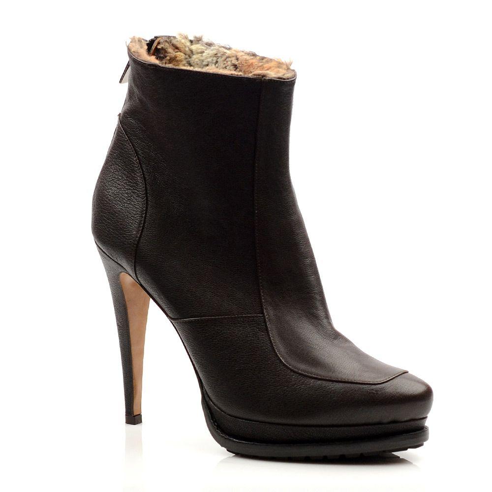 Женские кожаные ботинки Mugnai коричневые